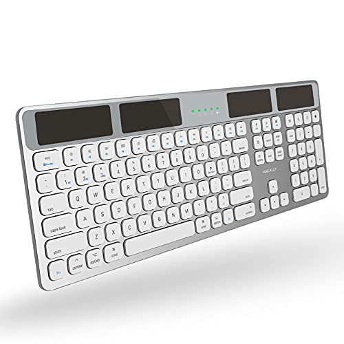Macally Bluetooth Wireless Solar Keyboard for Mac - Rechargeable via Any Light Source (150 hr Battery Life) - Mac Wireless Keyboard with Numeric Keypad & 21 Apple Shortcuts - Silver Aluminum