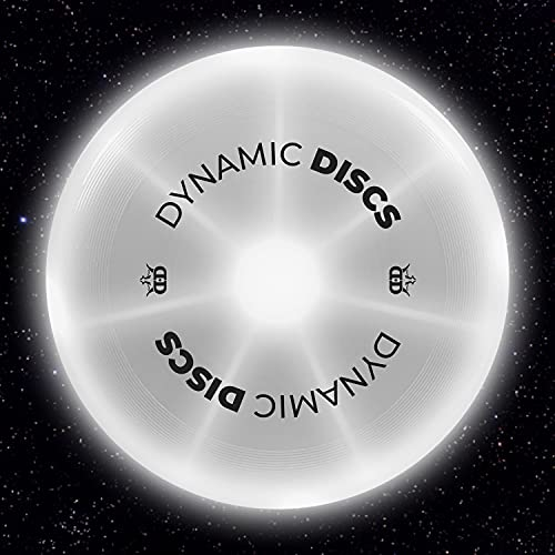 Dynamic Discs Night Glider LED Catch Flying Disc | 175g Glow in The Dark Catch Disc | Light-up Easy to Throw Ultimate Disc | Great for Backyard Games and Tailgating (White)