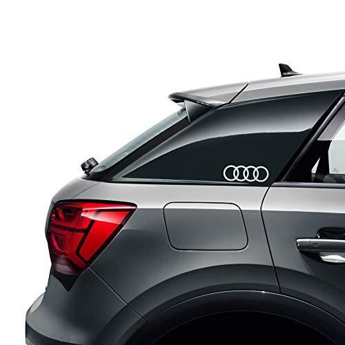 Audi 8W0064317D Lámina decorativa con emblema de anillos y logotipo, pegatina plateada