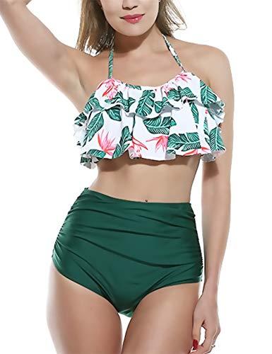 CHYU Damen Bikini Set Badeanzug Damen Sexy High Waist Bademode Strandbekleidung Badeanzug mit Volant Neckholder Bikini Oberteil und Bikinihose (Green, M)