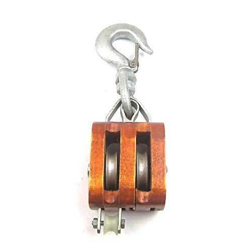 Load Rated - Double Sheave Rigging Wood Block w/Swivel Hook (3