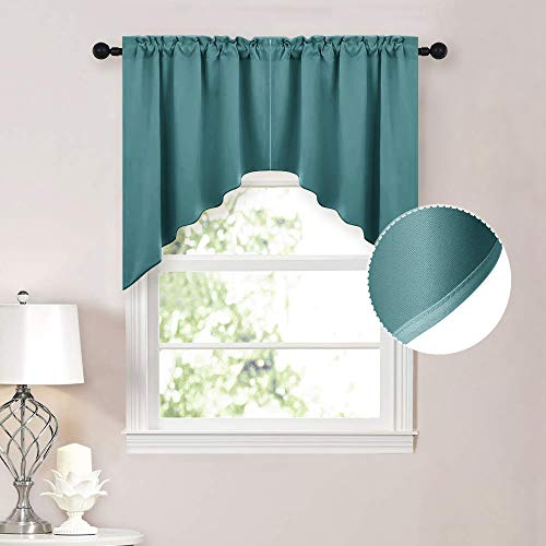 NICETOWN Swag Valance Blackout Kitchen Curtains - Scalloped Valance/Swags Home Decor Window Topper Treatments for Living Room/Home Office (2 PCs, 36 inches Wide Each, 36 inches Long, Sea Teal)