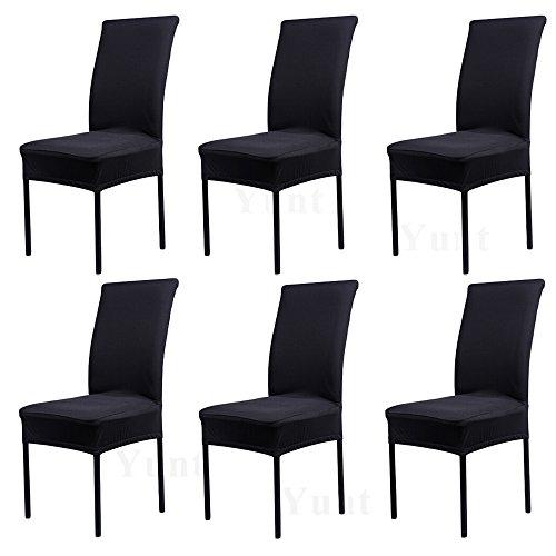 Yunt 6 x Housses de Chaise Extensible en Élasthanne Housses Revêtement Universelle de Chaise pour Maison Banquet Mariage (Noir)