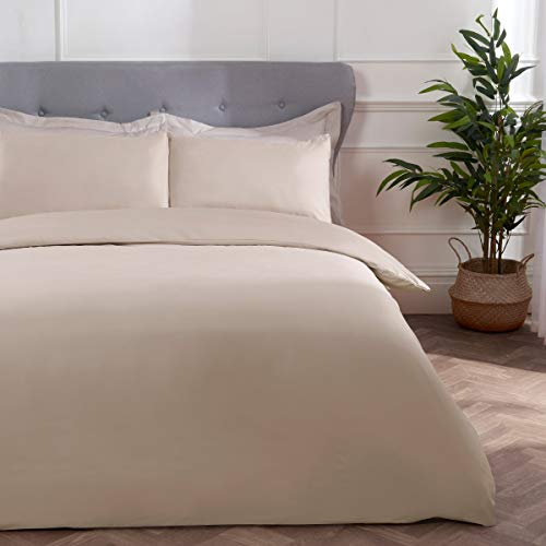 Sleepdown Block Microfiber Plain Dye Duvet Cover Quilt Bedding Set with Pillowcase Easy Care Soft Warm Cosy - Single - Natural
