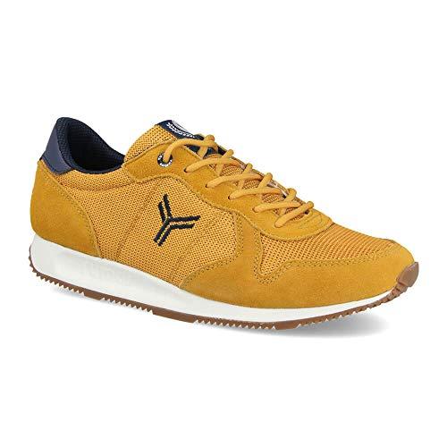 Zapatilla Sneaker Yumas Dublin Mostaza Fabricado en Piel Serraje y nilon Plantilla Confort Latex para Hombre