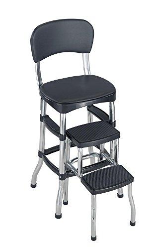 Cosco Black Retro Counter Chair/Step Stool, Black Black (Renewed)