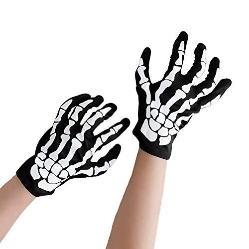 HENTEK Guantes de Cráneo, Guantes de Esqueleto Cosplay Fantasma Blanco Hueso Prop Traje Halloween