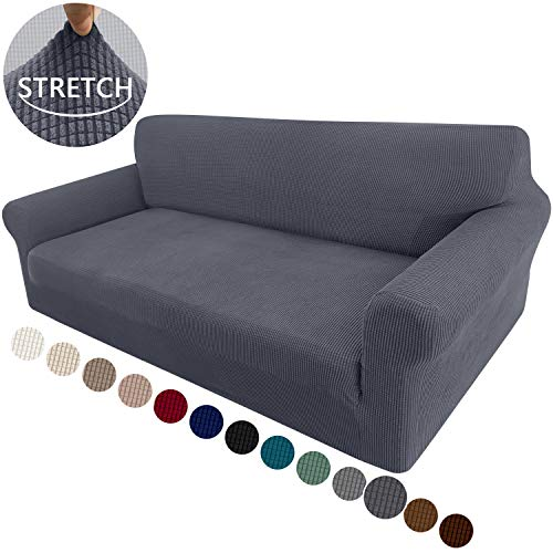 Granbest High Stretch Couch Cover 1-Piece Stylish Sofa Covers for 3 Cushion Couch Jacquard Sofa Slipcover Living Room Furniture Protector for Dogs Pets (Large, Gray)