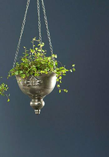 Hängeampel Blumenampel Metallamphore Antik Silber Blumentopf Pflanzschale Shabby