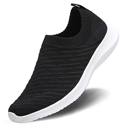 MATRIP Slip on Shoes for Women Nursing Work Walking Sneakers Best Fashion Zapatos deportivos para Damas Gym Athletic Shoes Casual,Black White,Size 8.5