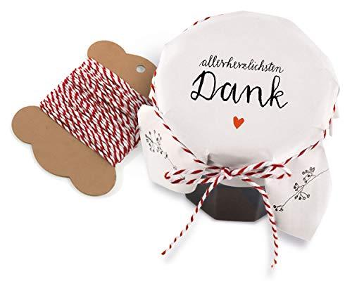25 Marmeladendeckchen - allerherzlichsten Dank - Gläserdeckchen Weiß mit Blumen für Marmelade, Marmeladengläser & Einmachgläser, Recyclingpapier Abreißblock + 10 m Garn + Justiergummi