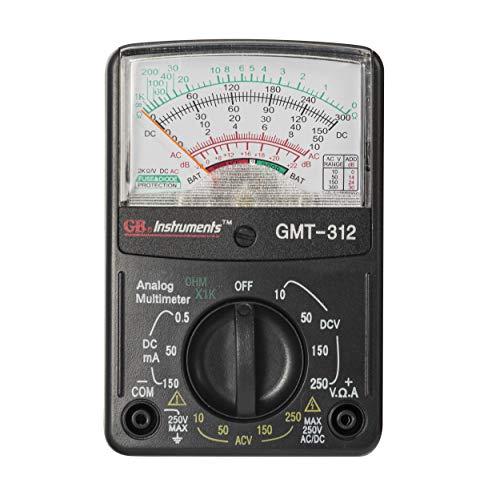 Gardner Bender GMT-312 Analog Multimeter, 5 Function / 12 Range, 300V AC/DC, for AC / DC Voltage & Current, Resistance, Continuity & Batteries , Black