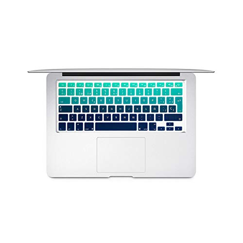 Spanish Colorful Keyboard Protective Film for MAC Book pro 13air 15 Retina A1466 A1502A1398A1278 EU Silicone Keyboard Cover Skin-Gradient Green-