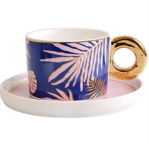 qnmbdgm Mok Beker Keramiek Mok Hyun Ye Ins Wind-Tekenen Goud Keramische Koffie Kop Schotel Set Huishoudelijke Theekop Kantoor Cup