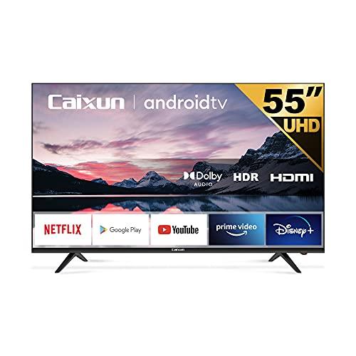 Caixun EC55S1A Smart TV 55 Pouces 140cm, 4K Téléviseur Android 9.0, HDR 10, Triple Tuner, (Prime Video, Netflix, Youtube, DAZN, Google Assistant, Google Play Store) Bluetooth
