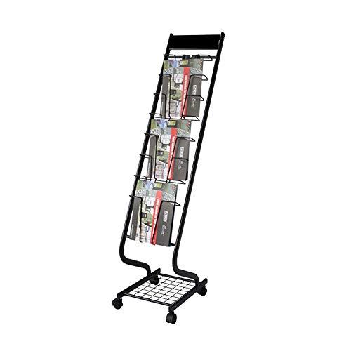 LHQ-HQ Literatura Literatura Floor Stand Mobile Display piso del soporte de exhibición móvil de datos de la propaganda Magazine Rack Periódico Rack de oficina estante de exhibición del folleto del sop