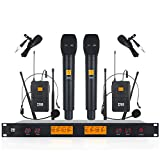 XTUGA A400 Metal receiver 4-Channel UHF Wireless Microphone System with 2 Bodypack and 2HandHled Use for Family Party, Church, Small Karaoke Night (Frequency B)