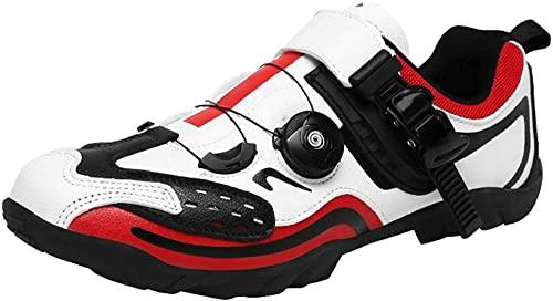 KUXUAN Zapatillas de Ciclismo Hombre Mujer Zapatillas de Ciclismo de Carretera sin candados Zapatillas de Ciclismo de montaña Ligeras y Transpirables,White-36EU