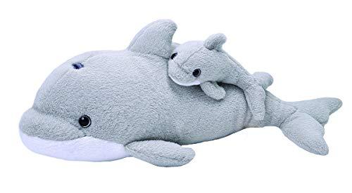 Wild Republic Mom and Baby, Mutter und Baby Delfin, Großes Kuscheltier, 32cm, Geschenkidee für Kinder, Kuscheltier mit Baby, Riesen-Stofftier aus recycelten Wasserflaschen