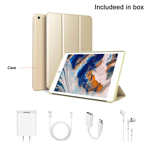 Tablet 10 Inch with Dual SIM 4G/5G WiFi, IPS/HD 32GB ROM/64GB 8500mAh, Android 7.1 Tablet PC Quad-Core Dual 8MP Camera, Mediapad Bluetooth/GPS/OTG Unlock Tablet with a Cell Phone (Gold)