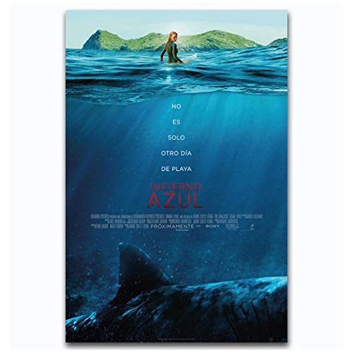 chtshjdtb Horror Classic Movie The Shallows Film Wandkunst Poster Leinwand Gemälde Drucken Home Wanddekoration -20X28 Zoll No Frame 1 Pcs