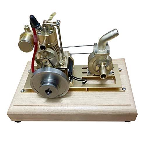 Elroy369Lion Mini motor de gasolina vertical de 4 tiempos refrigerado por aire, motor de combustión con bomba de celdas de alas y base de madera, juguete de experimentación de ciencia y física.