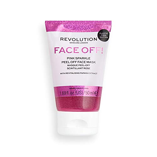 Revolution Skincare Pink Glitter Face Off Mask,50ml (Papaya Extracts, Glycerin, exfloliating)