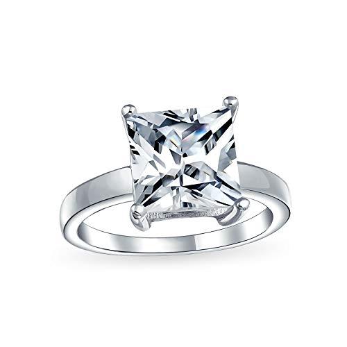 Bling Jewelry 3Ct Plaza Princesa Brillante Corte AAA CZ Solitario Anillo De Compromiso Banda Fina Plata Esterlina 925 para Mujer