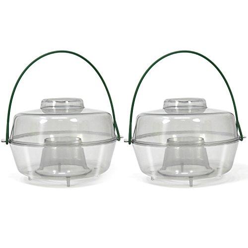 com-four® 2X Insektenfalle aus Kunststoff zum Aufhängen, Wespen-, Fliegen- und Hornissenfalle für draußen (02 Stück - transparent 10cm)