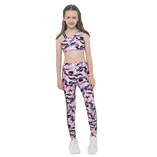 Kaerm Kinder Mädchen Camouflage Jogginganzug Jogging Army Trainingsanzug MILITÄR TARN Jogging Fitness Yoga Sportanzug Sport BH MIT Hose Set Gr. 98-176 Camouflage Rosa 98-104