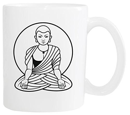 Mister Merchandise Kaffeetasse Buddhis Buddha Mönch Monch Teetasse Becher, Farbe: Weiß