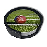 pengyong Football Coasters for Drinks, 6 Pcs Premium Leather Coaster, Heat Resistant Drink Coaster with Holder, Round Coasters Suitable for Homes and Kitchen Bars