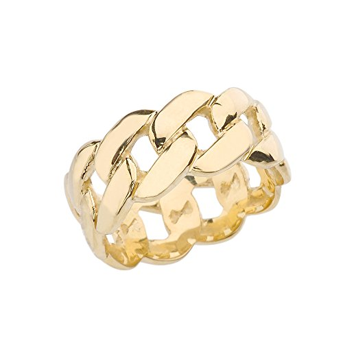 Celtic Rings 10k Gracious Yellow Gold 10 mm Unisex Cuban Link Chain Eternity Band Ring (Size 12)