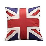 Haodou Funda de Cojín Estilo Británico Amor Londres Lino Algodón Fundas de Colchón Rojo Inicio Sofá Coche Mantas Almohada Decorativa Arte