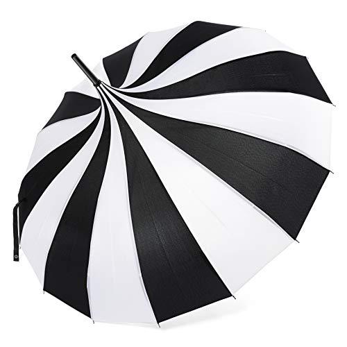 Coucoland Pagode Regenschirm Damen Sonnenschirm Retro-Stil Brautschirm Hochzeitsschirm Fasching Kostüm Accessoires (Schwarz Weiß)