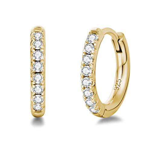 Orecchini a Cerchio Piccoli per Donna in Argento Sterling 925 Placcato Oro Giallo con Zirconia Cubica - Diametro: 13 mm