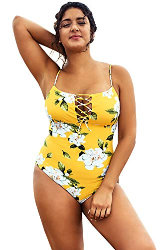 CUPSHE Women's Plus Size One Piece Swimsuit Floral Lace Adjustable Bikini, 1X Yellow