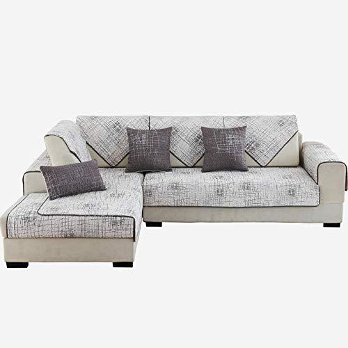 Fundas Sofa Chaise,forro de sofa forma de L,Fundas de sofá con estampado de graffiti,manta de tela para sofá,funda de sofá antideslizante de sarga de algodón,protector de sofá-blanco_El 110 * 110cm