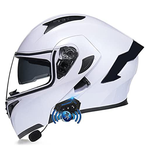 LPXPLP Casco De Moto Modular Bluetooth Integrado, con Doble Visera Cascos De Motocicleta, Casco Integral ECE Homologado, Transpirable Y Cómoda, para Mujeres Y Hombres X,M