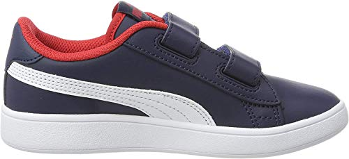 Puma Smash V2 L V PS', Sneaker Unisex-Bambini, Blu (Peacoat White-High Risk Red), 32 EU