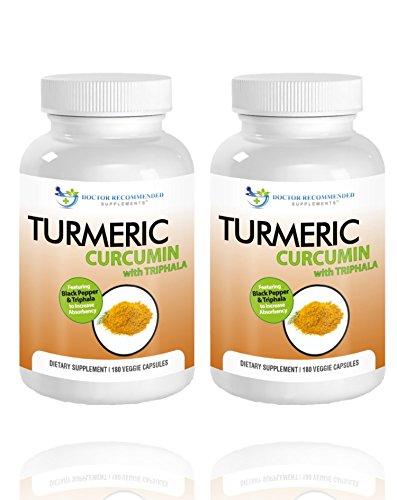 Turmeric Curcumin-2250mg/d-180 Veggie Caps-95% Curcuminoids with Black Pepper Extract (Piperine) - 750mg capsules - 100% ORGANIC Turmeric - Most powerful Turmeric Supplement - with Triphala -(2 Pack)