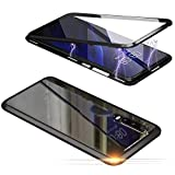Jonwelsy Hülle für Samsung Galaxy A90 5G, Magnetische Adsorption Metall Stoßstange Flip Cover mit 360 Grad Schutz Doppelte Seiten Transparent Gehärtetes Glas Handyhülle für Samsung A90 (Schwarz)
