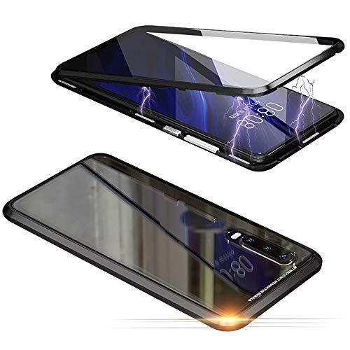 Jonwelsy Hülle für Huawei Honor 8X, Magnetische Adsorption Metall Stoßstange Flip Cover mit 360 Grad Schutz Doppelte Seiten Transparent Gehärtetes Glas Handyhülle für Huawei Honor 8X (Schwarz)