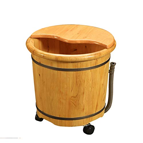 Foot Massagers Foot bath barrel Cypress wood foot bath barrel Spa massage pedicure barrel Thickened and raised wooden footbath Gravity drainage universal wheel with massager The best gift for the elde