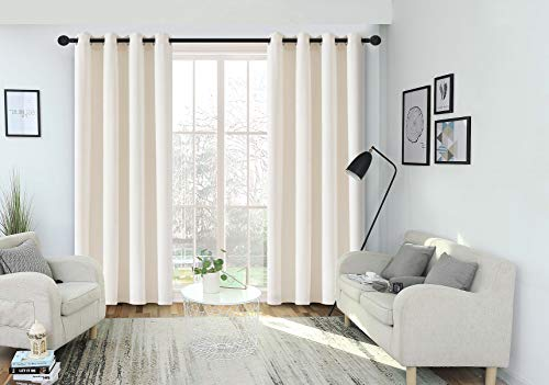 FengChang Blackout Velvet Curtains Cream Soft Luxury Drapes Window Treatment 2 Panels (Cream, L52'' X W95'')
