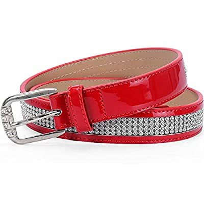 "Clear Crystal Kids 1"" (25mm) Western Cowgirl Rhinestone Sparkling Mesh Belt for Dress Kids(Red, 65cm)"