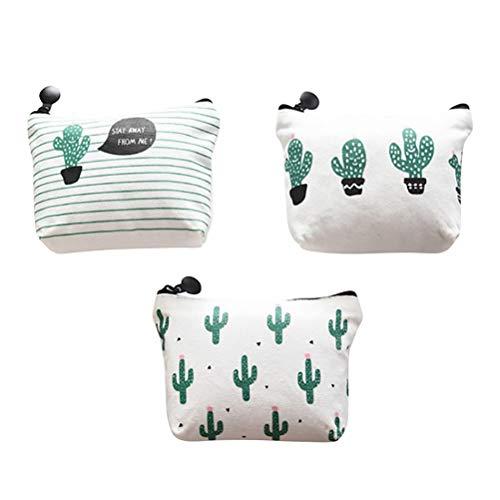 Amosfun Leinwand Kaktus Student Stift Federmäppchen Geldbörse Tasche Kosmetik Make-Up Tasche Kartenhalter Mini Brieftasche Kaktus Ändern Tasche Schlüsselhalter Tasche