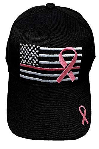 Black Duck Brand Embroidered Pink Lives Matter Breast Cancer Awareness Pink Ribbon Adjustable Baseball Hat/Cap (Black, 1)