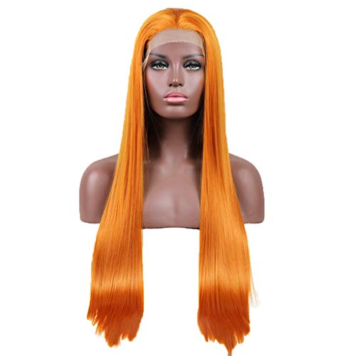ATAYOU Natural looking Long Straight Orange Synthetic Front Lace Wig For Women Fancy Dress With 1 Wig Cap