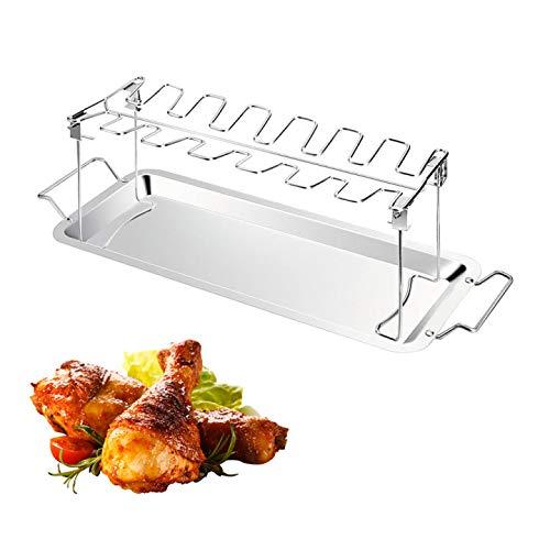 XQK Piedino per Griglia per Ali di Coscia di Pollo Griglia per Barbecue Supporto per Griglia per Barbecue, Accessori per Cremagliera di Coscia di Pollo in Acciaio Inossidabile Opzionale (con Piastra)